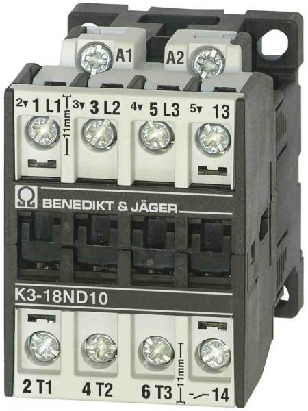 K3-18ND10 mit integriertem Schließer-Hilfskontakt 13/14
