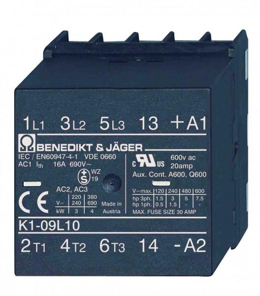 Leistungsschütze K1-09L10 (4kW / 16A) für 6,3mm Fastonstecker