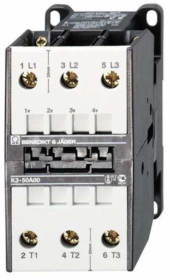 Leistungsschütz K3-50A00 schaltet 22 kW / 110A