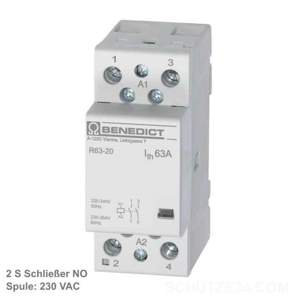 Installationsschütz R63-20 230Volt AC 2 Schließer NO