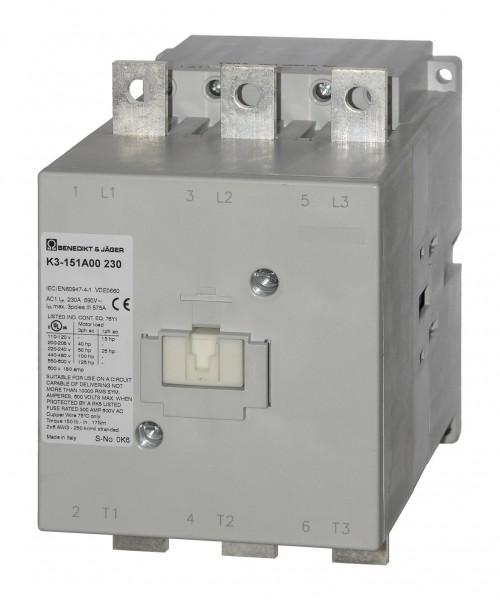 Leistungsschütz K3-176A00 schaltet 90 kW / 250A