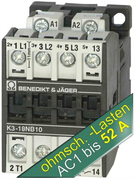 K3-18NB10 ermöglicht schalten von ohmschen AC1-Lasten bis 52A