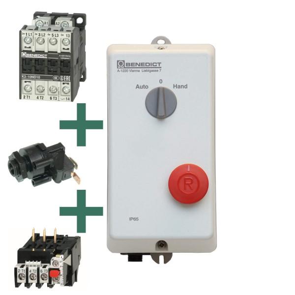 P1WP Direktstarter mit Schalter und Motorschutzrelais und Pneumatikschalter rastend