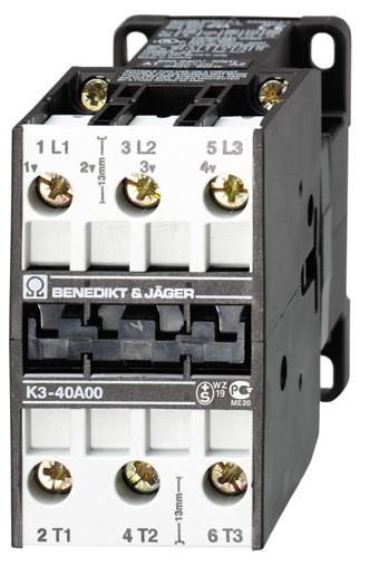 Leistungsschütz K3-40A00 schaltet 18,5 kW / 80A