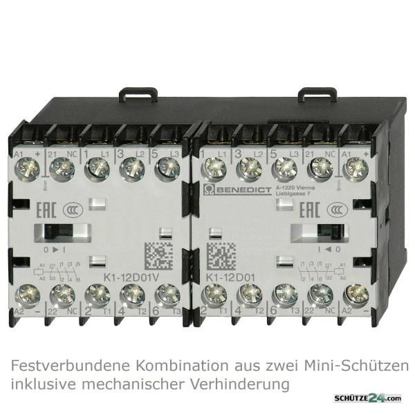 Mini-Wendeschütz K1W12D01MC mit integrierten Öffner-Hilfskontakt