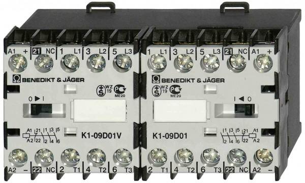 Mini-Wendeschütz K1W12D schaltet 5,5kW / 20A