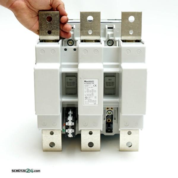 K3-860A22 AC1: 1100 A, AC3: 500kW /400V