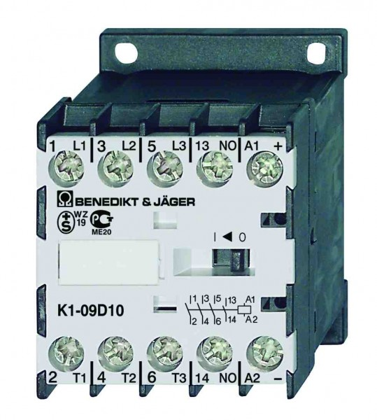 Mini-Leistungsschütze K1-09D10 schaltet 4kW / 20A
