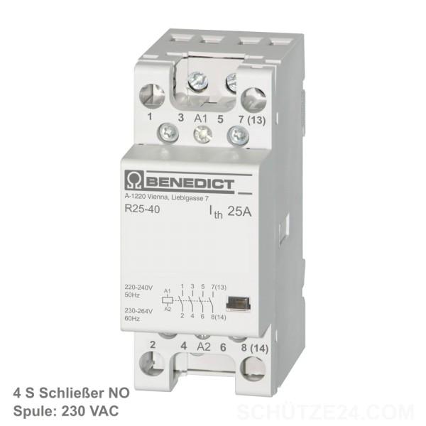 Installationsschütze R25-40 230, Spule 230VAC 4 Schließer