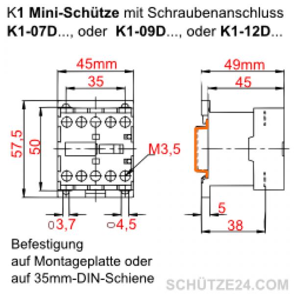 Mini-Leistungsschütz K1-12D | Schütze24