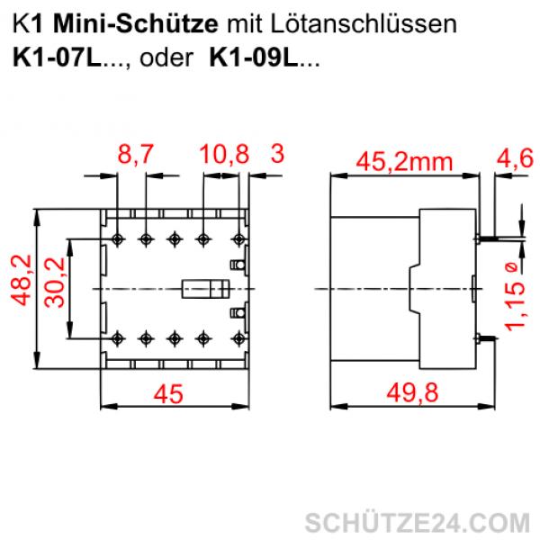 Mini-Leistungsschütz K1-09L | Schütze24