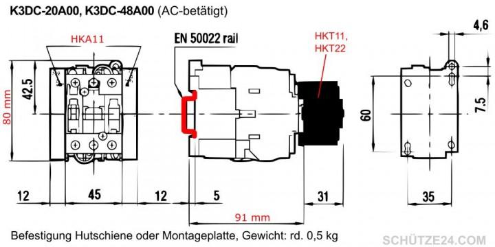 K3DC-48A Gleichstromschütz, 600V=DC, 48A | Schütze24