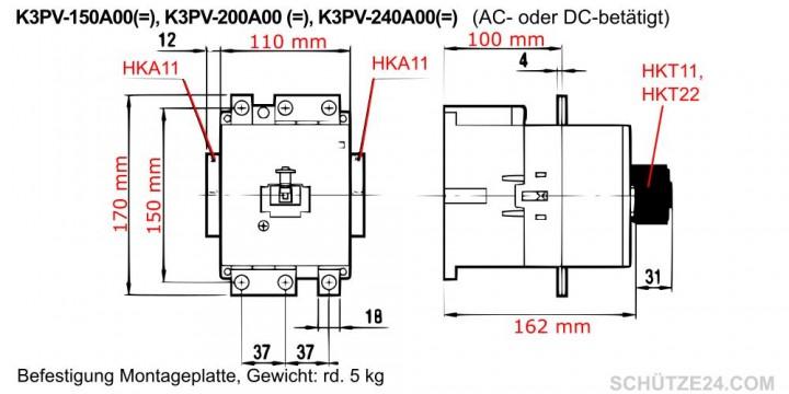 K3PV-150A Gleichstromschütz, 1000V=DC, 150A | Schütze24